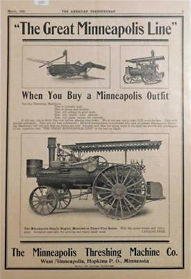 Large 1906, Minneapolis Stream Tractor Ad,