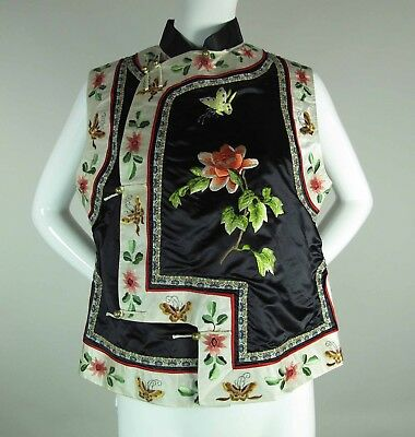 Vintage Chinese Embroidered Silk Vest W/ Butterflies & Flowers & Brass Toggles
