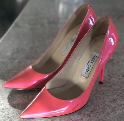 19924c8f4bf JIMMY CHOO HOT Pink Patent Leather Heels 39 9 Geranium
