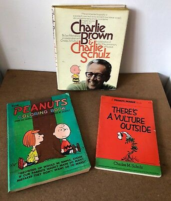 Lot of 3 Vintage Peanuts, Charles M. Schulz Books, Coloring, Comic Strips, Bio