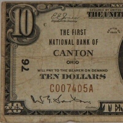 1929 - The First Natl Bank Of Canton, Oh - $10 Natl Currency - T1 -  #76 - #682Z