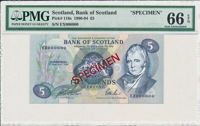 Bank of Scotland  Scotland  5 Pounds 1994 Specimen PMG  66EPQ