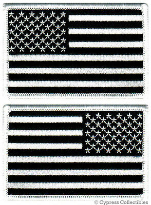 LOT 2 US AMERICAN FLAG MILITARY UNIFORM BLACK PATCH iron-on ALL BLACK VERSION