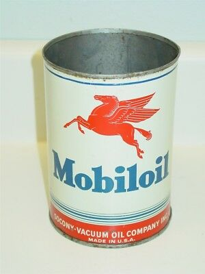Vintage Motor Oil Can, Mobileoil Motor Oil Can, Advertising Can