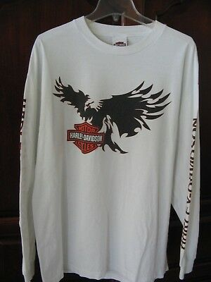 HARLEY-DAVIDSON 'the KOOTENAYS' White Cotton Long Sleeve SHIRT  sz XL