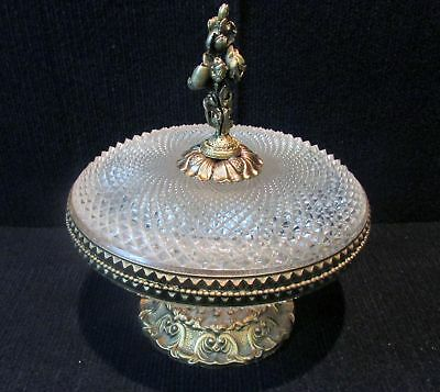 Vintage Crystal Hand Cut  Candy/Compote Dish on Brass Pedestal w/Lid (650)