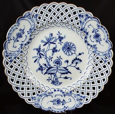 Beautiful Antique Meissen Reticulated Blue & White Onion Plate #2