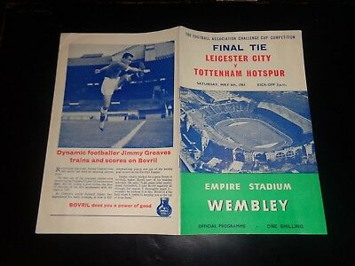 TOTTENHAM HOTSPUR SPURS v LEICESTER CITY FA CUP FINAL Programme MAY 6th 1961 (A)