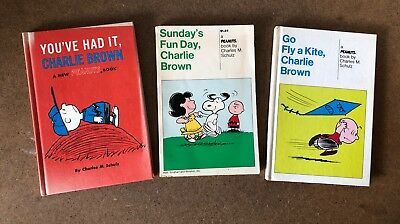 Lot of 3 Vintage Peanuts, Snoopy, Lucy, Charles M. Schulz Comic Strip Books