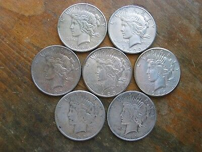 Lot Of 7 Peace Silver Dollars Mixed Dates