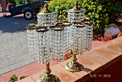 Beautiful Pair Vintage French Crystal Boudoir Lamps
