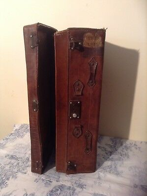 FRENCH VINTAGE LEATHER SUITCASE - Storage Case, Prop, Upcycle (2570)