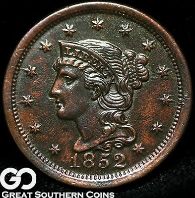 1852 Large Cent, Braided Hair, Nice Strike, Sought After Type