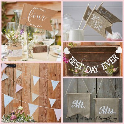 Rustic Country wedding venue table decorations bunting Mr & Mrs Table Numbers