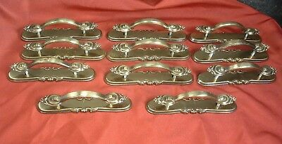 Lot of 11 Vintage Brass Drawer Pulls with Antique Brass Finish