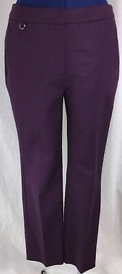 Adrianna Papell Slim Fit Trouser 10 Purple Dress Pants Flat Front Lined Crop New