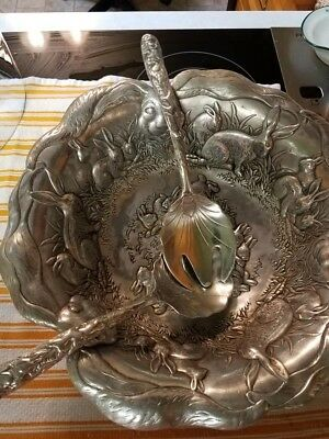 1993 Arthur Court Bunny Rabbit Salad Set Bowl and Serving Spoons - Whimsical