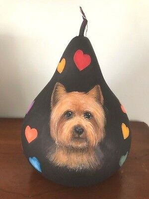 Hand Painted ORIGINAL Gourd with Yorkie Yorkshire Terrier and hearts / Ann H