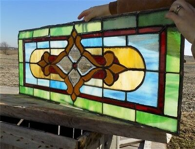 40x16 Panel Leaded Stained Glass Window Transom House Catholic Church Vintage b