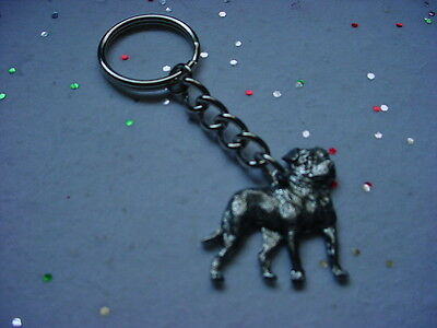 AMERICAN BULLDOG Detailed PEWTER Silver DOG KEYCHAIN Key Ring USA made puppy NEW