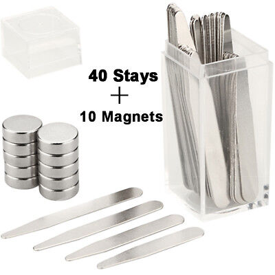 40 Metal Collar Stays & 10 Magnets for Men Shirts 4 Various Sizes W/ Clear Box
