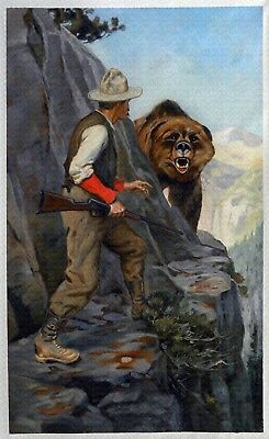"Philip R Goodwin, Right of Way, Bear, Hunting, Rifle, antique,16""x10"" ART PRINT"