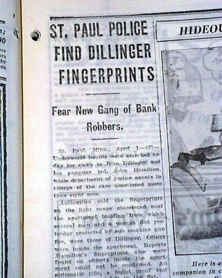 BONNIE AND CLYDE Texas Patrolmen Murders & John Dillinger Hunted 1934 Newspaper