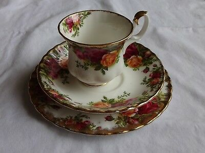 Vintage Royal Albert Old Country Roses Coffee Trio, Cup, Saucer & Plate
