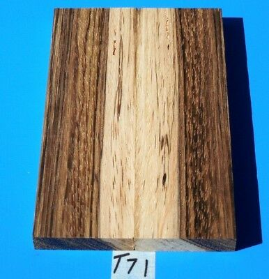1 Pair Knife Blank Scales Two-Tone Colorful Figured Zebrawood~Exotic Wood Lumber