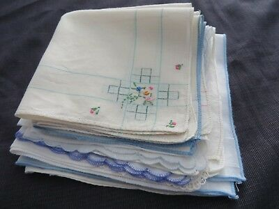 Lot 13 Vintage Handkerchief Hankies White All Hand Embroidered Tiny Flowers