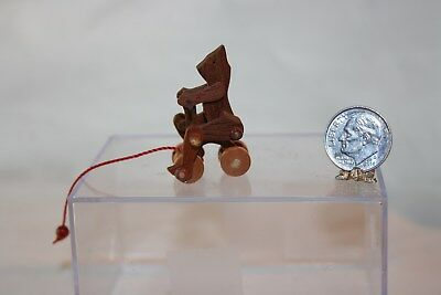 Miniature Dollhouse Artisan Childs Teddy Bear on Tricycle WORKING Pull Toy 1:12