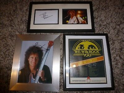 QUEEN, Freddie Mercury, ROGER TAYLOR, BRIAN MAY, JOHN DEACON SIGNED ITEMS x3!