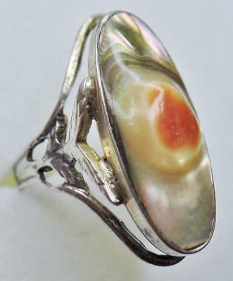 Antique Arts & Crafts Art Nouveau Sterling Silver Abalone Blister Pearl Ring