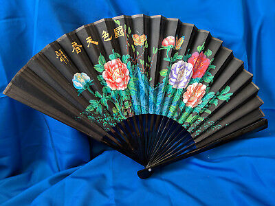 """LARGE 35""""x20"""" Japanese Hand Fan Hand Painted VTG Antique Paper Canvas Lacquer  W"""