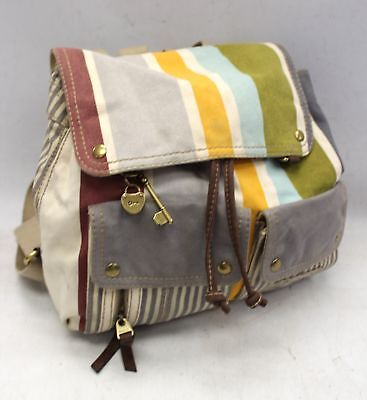 FOSSIL Canvas Striped Drawstring Ladies Rucksack Backpack Bag - M31
