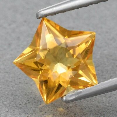 Top! VVS 1.04ct 7.3x7.2mm Star Natural Yellow Citrine, Brazil