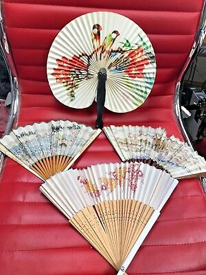 Antique Vintage Hand Held Fans Four Oriental Painted Tlc Needed See Photo