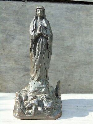 French Vintage Religious Statue Icon Christianity Figurines Our Lady Of Lourdes
