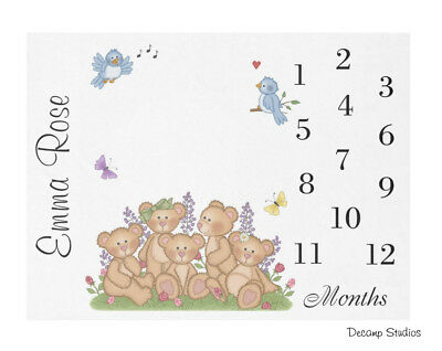 Personalized Name Baby Girl Monthly Growth Blanket Teddy Bear Milestone Month