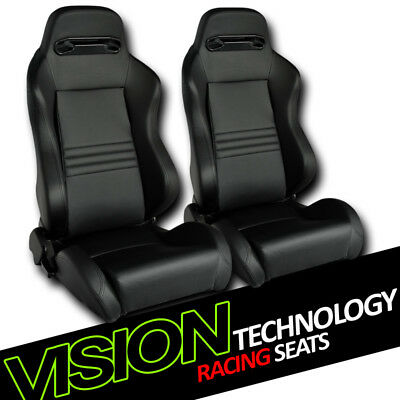 T-R Type Blk Stitch PVC Leather Reclinable Racing Bucket Seats w/Sliders L+R V06