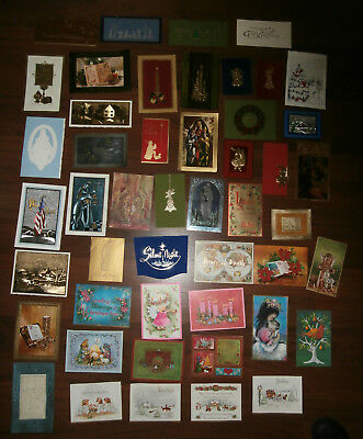 Lot of 47 Vintage Christmas Greeting Cards Fronts Only Nice Graphics 1960s 1970s