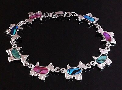 Adorable Scottish Terrier   Bracelet with Paua Shell Inlay 7.5 inch or 19 cm