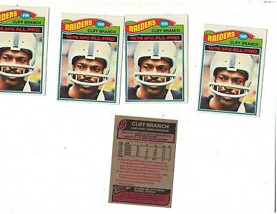 1977 Topps 5 Cliff Branch cards # 470 card in the set