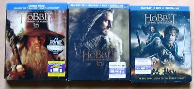 The Hobbit Trilogy Blu-Ray / DVD, all three parts, two of them 3D