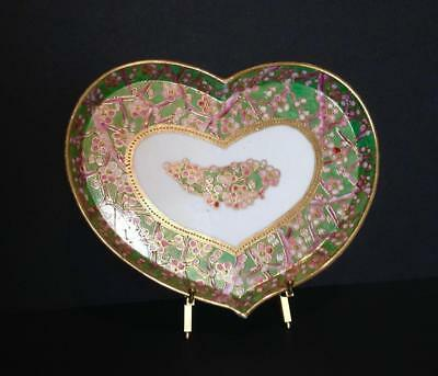 Antique Nippon Japan Heart shape Plate Dish Tray Pink Green Gold Hand Painted