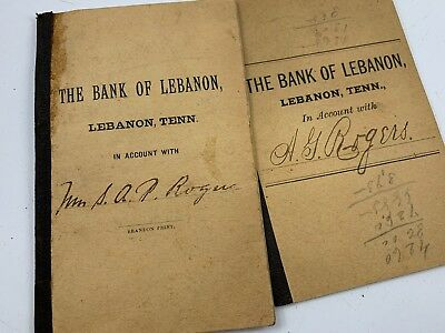 Pair Of Antique Late 1800'S Old Bank Books From The Bank Of Lebanon In Tennessee