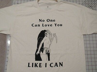 HUNGRY GHOST PRESS No One Can Love You T-SHIRT Mens L Death Kiss Grim Reaper EUC