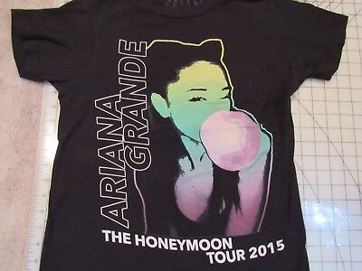 3bf791b31 ARIANA GRANDE 2015 Honeymoon Tour T-SHIRT Mens XS 2-Sided Black EUC Concert