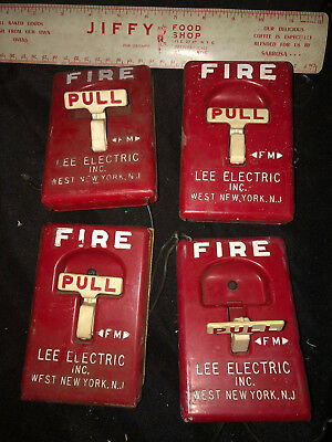Vintage Lot of 4 Fire Alarm Manual Pull Down Box