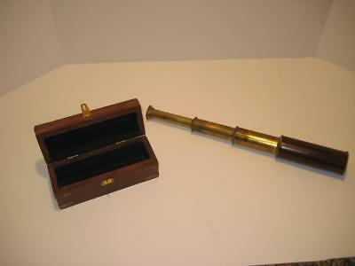 Vintage Brass Wood Nautical Collapsible Spyglass Monocular Monoscope Spotting